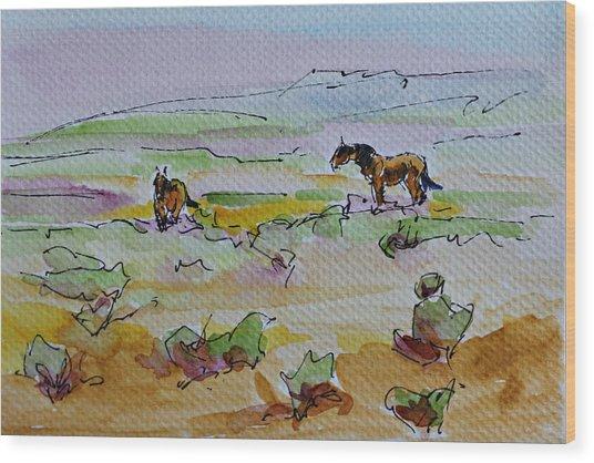 Wild Horses Wood Print by Karen McLain