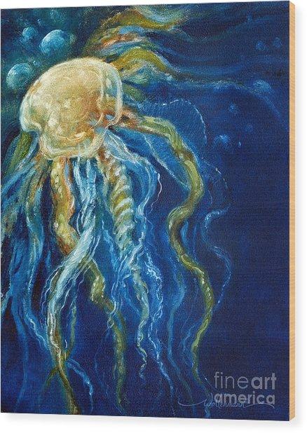 Wild Jellyfish Reflection Wood Print
