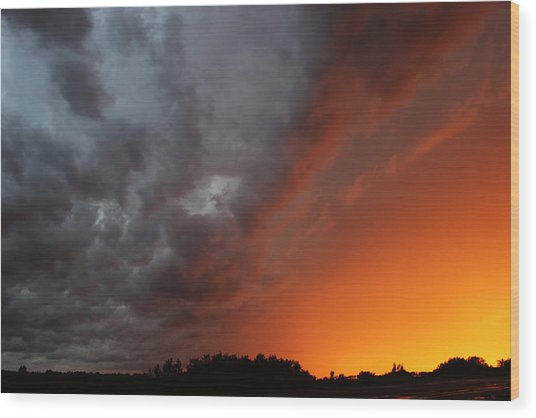 Wild Storm Clouds Over Yorkton Wood Print