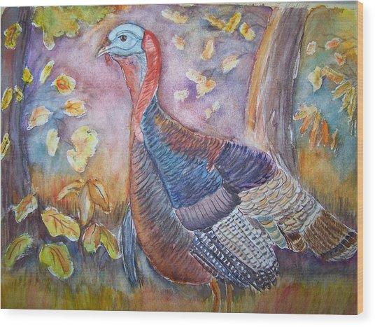 Wild Turkey In The Brush Wood Print