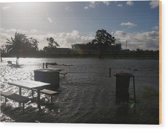 Wild Weather Causes Flooding In Melbourne Cbd Wood Print by Darrian Traynor