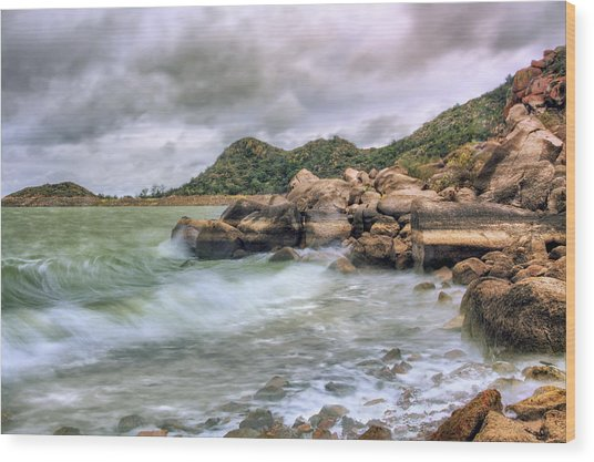Wild Weather On Lake Altus - Oklahoma - Quartz Mountains Wood Print