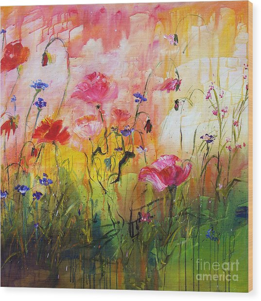 Wildflowers And Pink Poppies Wood Print
