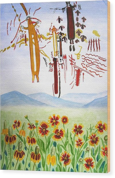 Wildflowers And Rock Art At Halo Shelter  Wood Print