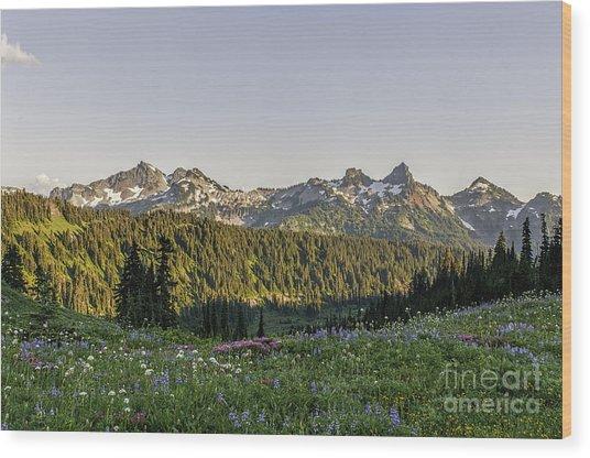 Wildflowers And The Tatoosh Range Wood Print