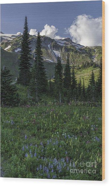 Wildflowers At Rainier Wood Print