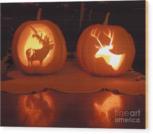Wildlife Halloween Pumpkin Carving Wood Print