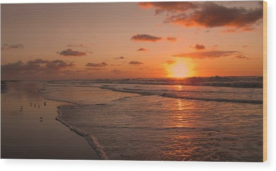 Wildwood Beach Sunrise II Wood Print
