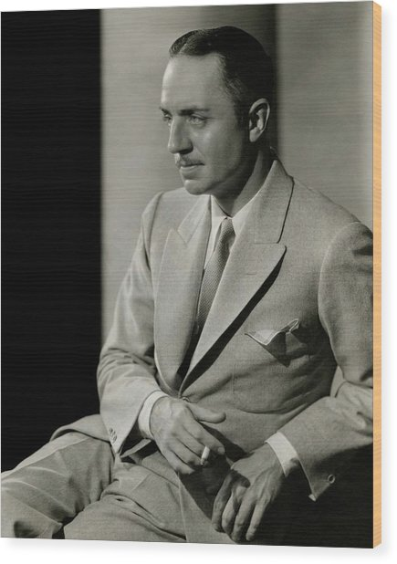 William Powell Wearing A Suit Wood Print by Barnaba