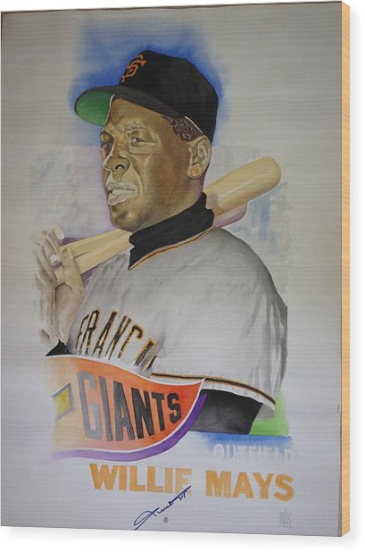 Willie Mays Wood Print by Robert  Myers