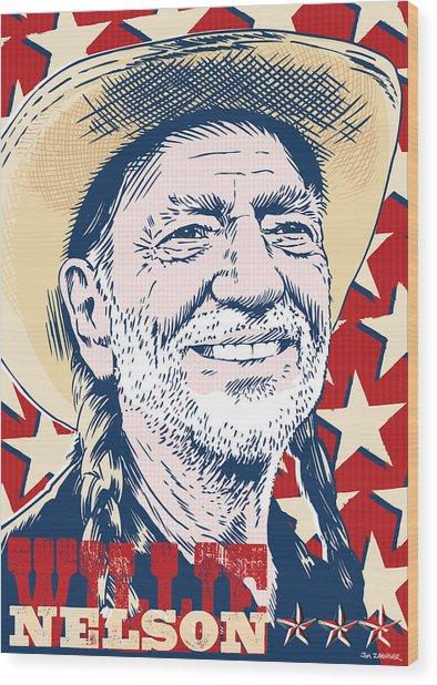 Willie Nelson Pop Art Wood Print
