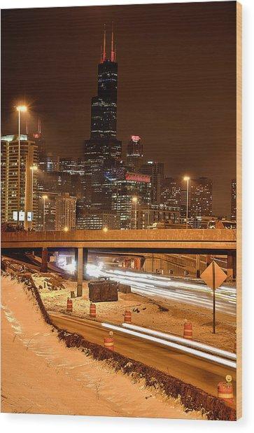 Willis Tower Chicago Winter 2014 Wood Print by Michael  Bennett