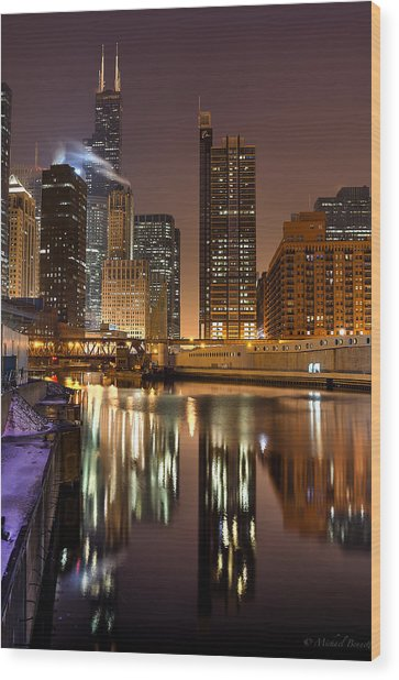 Willis Tower Reflection In Chicago River March 2014 Wood Print by Michael  Bennett