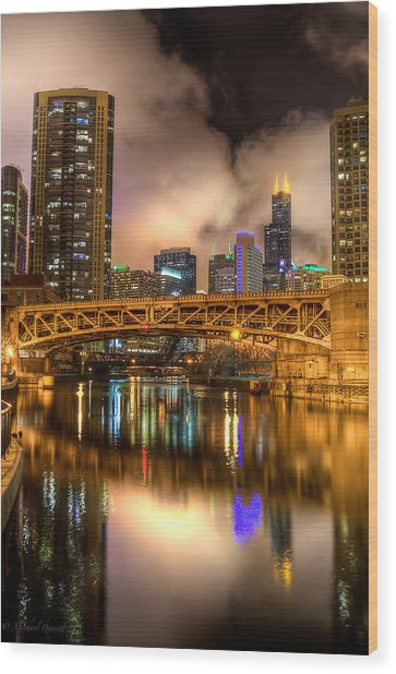Willis Tower Reflection In Chicago River  Wood Print by Michael  Bennett