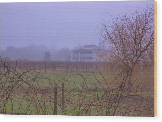 Willow Creek In Fog Wood Print