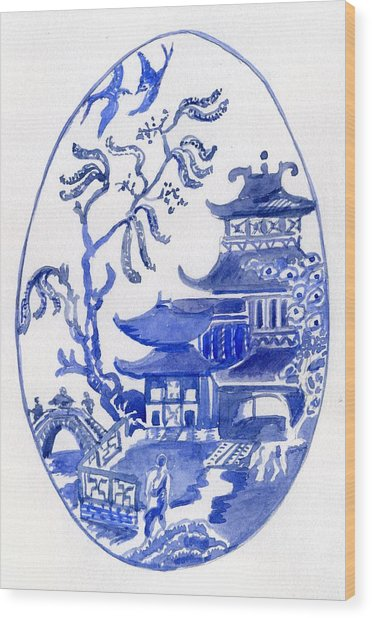 Willow Pattern Egg I Wood Print
