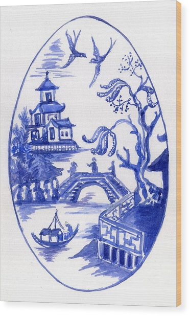 Willow Pattern Egg II Wood Print