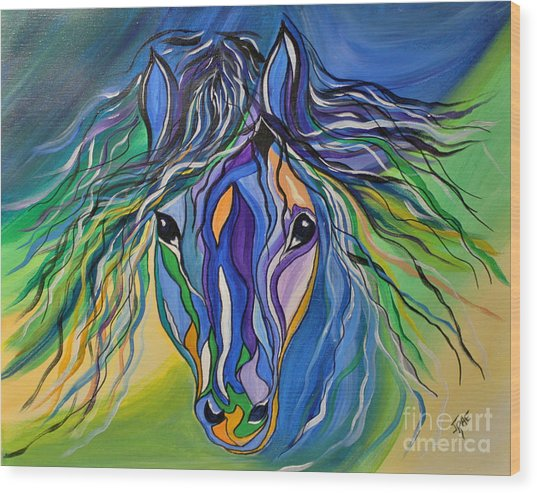 Willow The War Horse Wood Print
