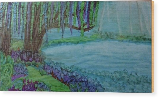 Willows By The Pond Wood Print