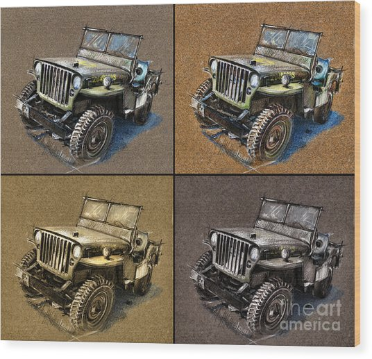 Willys Jeep Mb Car Drawing Wood Print