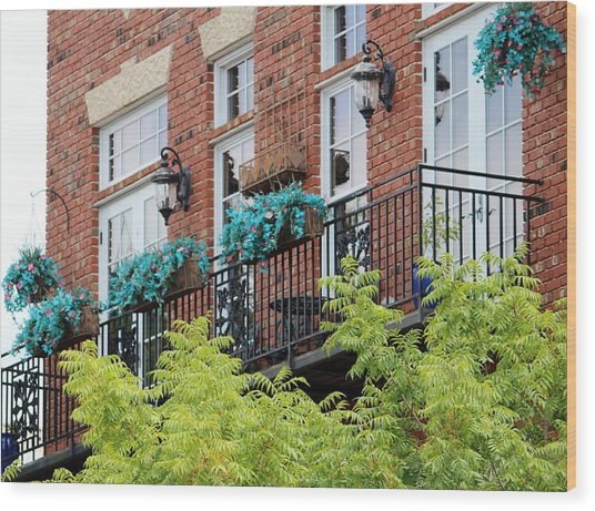 Blue Flowers On A Balcony  Wood Print