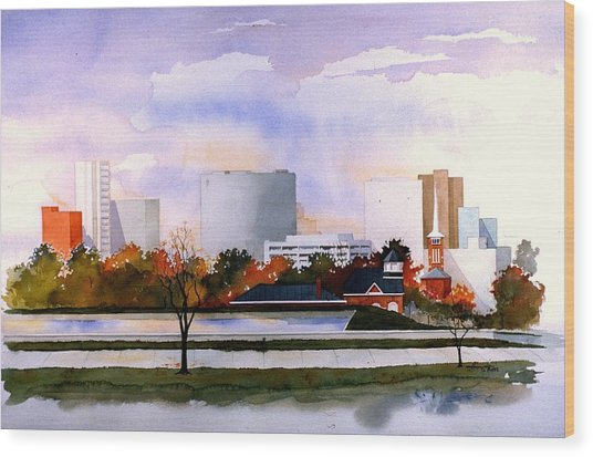 Wilmington Resevoir Skyline Wood Print