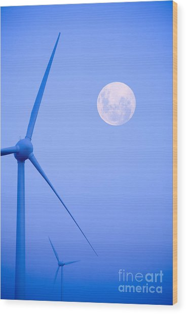 Wind Farm  And Full Moon Wood Print
