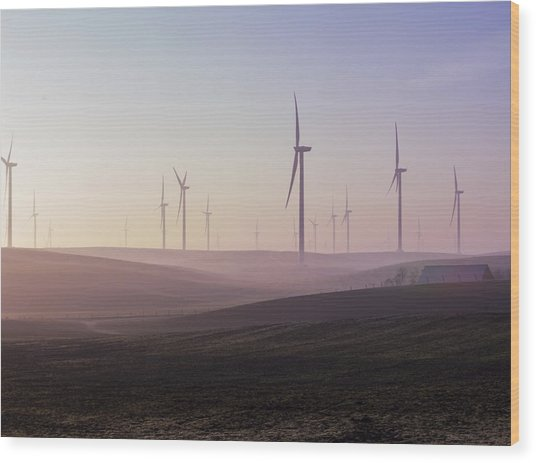 Wind Farm At Dawn Wood Print