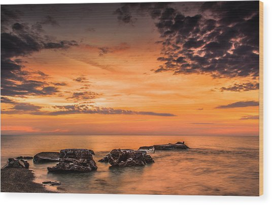 Wind Point Sunrise Wood Print