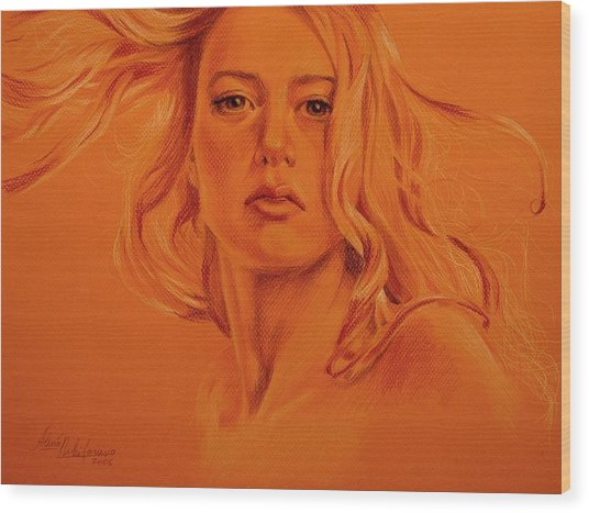 Wind. Study Of Female Head And Hair. Wood Print