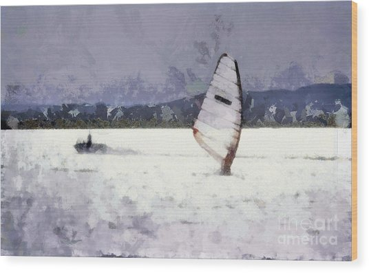 Wind Surfers On The Lake Wood Print