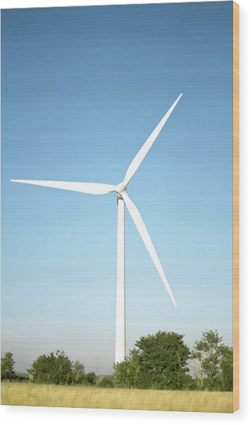 Wind Turbine And Blue Sky Wood Print by Jesper Klausen / Science Photo Library