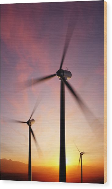 Wind Turbine Blades Spinning At Sunset Wood Print