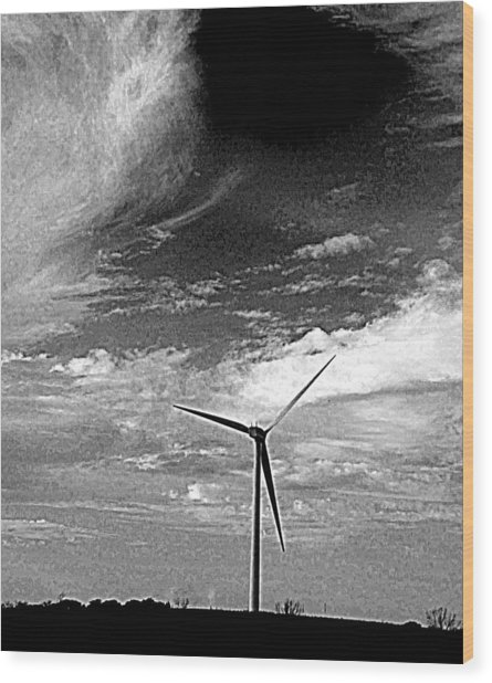 Wind Turbine Wood Print by Maria Scarfone
