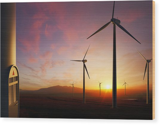 Wind Turbines At Sunset Wood Print