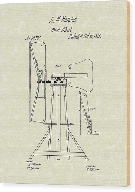 Wind Wheel 1865 Patent Art Wood Print by Prior Art Design