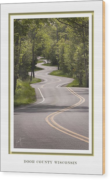 Winding Road Door County Wood Print