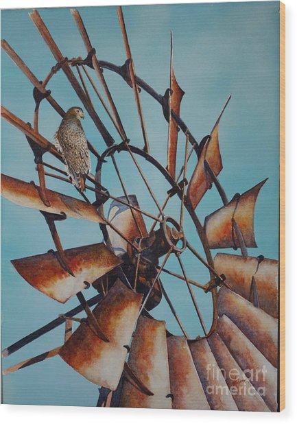 Windmill And Hawk Wood Print