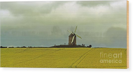 Windmill And Rapeseed And Storm Wood Print