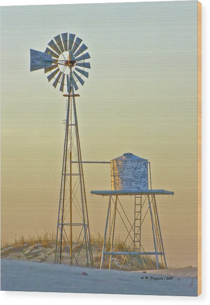 Windmill At Dawn 2011 Wood Print