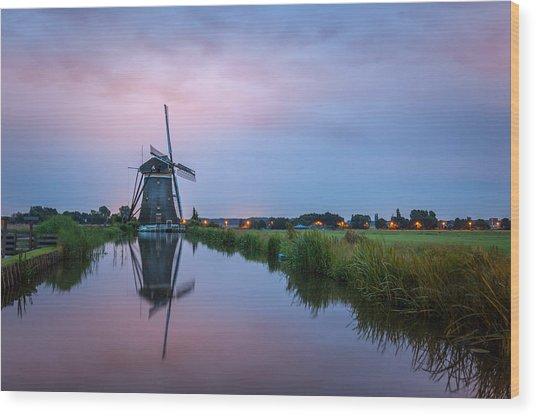 Windmill At Dawn Wood Print