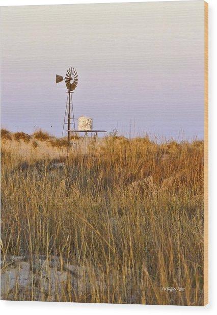 Windmill At Dusk 2011 Wood Print