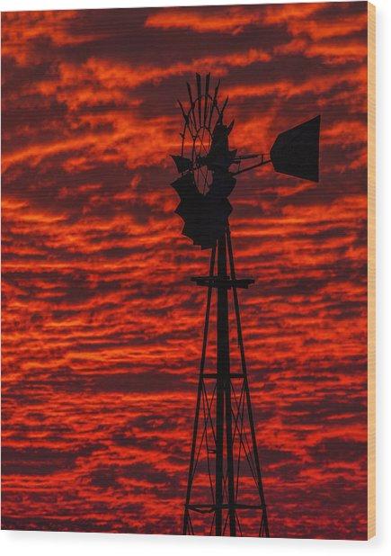 Windmill At Sunset Wood Print