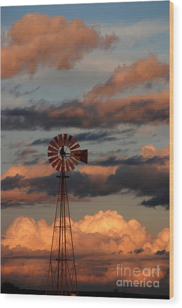 Windmill At Sunset V Wood Print