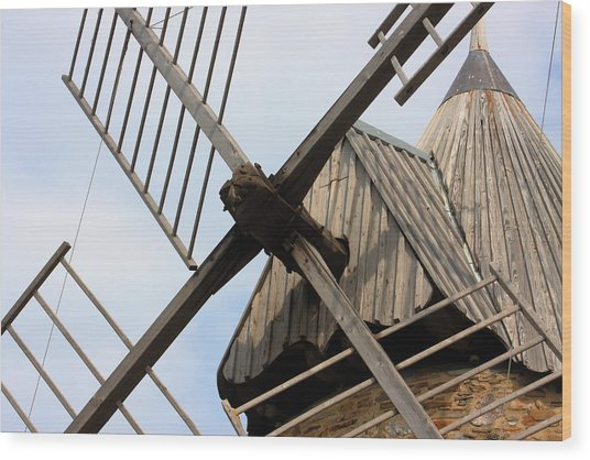 Windmill Wood Print by Carrie Warlaumont