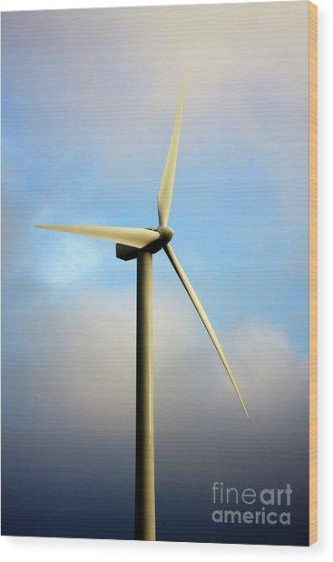 Windmill Dark Blue Sky Wood Print