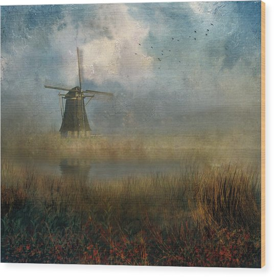 Windmill In Mist Wood Print