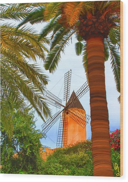 Wood Print featuring the painting Windmill In Palma De Mallorca by Deborah Boyd
