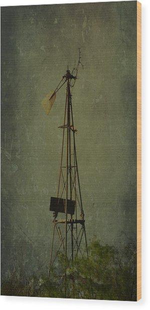 Windmill In Summer Wood Print by Mikki Cromer