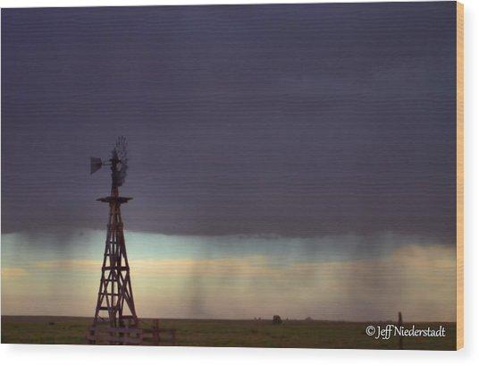 Windmill In The Rain Wood Print